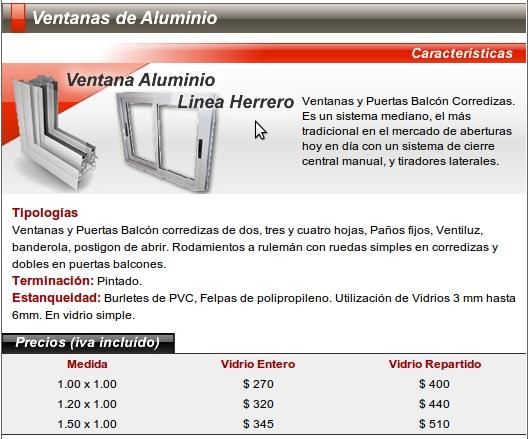 Nsa aberturas ventanas ventanas aluminio ventanas a for Ver precios de ventanas de aluminio